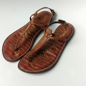 Sam Edelman Gigi t-strap embossed leather sandals